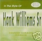 HANK WILLIAMS Sr Country Karaoke Classics CDG Music CD ()