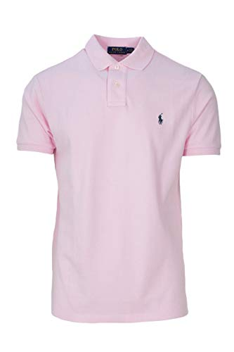 Polo Ralph Lauren Men Custom Fit Mesh Pony Logo Shirt (L, BathPink)