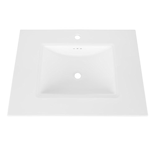 (MAYKKE Brighton Ceramic Bathroom Vanity Sink Top with Single Faucet Hole Drop-in Rectangular Cabinet Sink cUPC Certified, Overflow Included White YSA1073103)