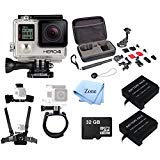 GoPro Hero 4 Silver Edition 12MP Waterproof + 32GB Mini SD Card+ 2 Batteries+ Case+ Head/Chest/Wrist Mounts, Sports & Action Camera Bundle