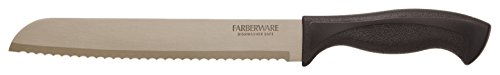 "Farberware Armor Dishwasher Safe Bread Knife, 8"", Black 1 MULTIPLE USES: Farberware knife armor dishwasher safe 8"" bread knife is ideal for easy and precise slicing of breads, rolls, and other baked goods. RUST & HEAT RESISTANT: The Japanese steel blade is protected by a rust resistant coating, as a result the knives can withstand heat above recommended dishwasher temperature (150 degree F-185 Degree F.) TEXTURED GRIP: This knife features a textured, non-slip handle that provides a sure grip even when wet."