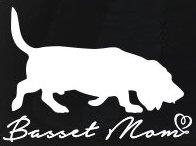 Basset Mom Decal Vinyl Sticker|Cars Trucks Vans Walls Laptop| White |5.5 x 4 in|LLI077 Beaded Jelly Bracelet