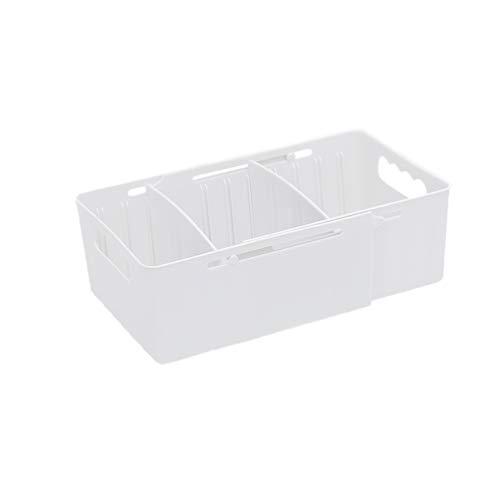 Heaci Adjustable Storage Bin Plastic Drawer Divider Bathroom Kitchen Organizer Expandable Desk Closet, White, 3 Section
