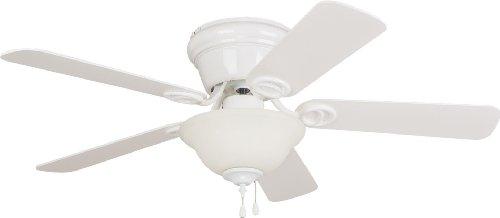 Litex Industries/Ellington WC42WW5C1 Wyman Hugger Mount Ceiling Fan with Bowl Light, White with Whitewashed Blades, ()