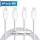 Automotive : iPhone Charger, 4Pack 6FT Lightning to USB Charging Cable Cord Compatible with iPhone X 8 8Plus 7 7Plus 6 6Plus 6S 6SPlus 5 5S SE,iPad,iPod