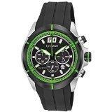 Citizen Men's HTM Eco-Drive Green Accented Black Dial Black Rubber Strap Chronograph Watch  CA4109-01E