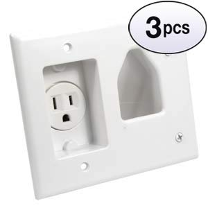 GOWOS (3 Pack) Recessed Low Voltage Cable Plate with Recessed Power, White