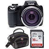Kodak Pixpro AZ527 20MP, 52x Zoom, Wi-Fi Digital Camera (Black) with 16GB Sandisk SD Card and Swissgear Case