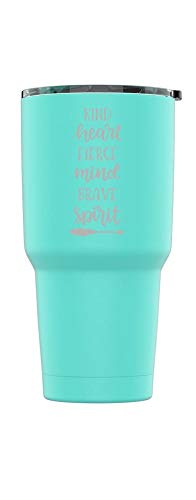Stainless Steel Powder Coated 30 oz Tumbler Splash Proof Lid 2 Straws, Triple Wall Vacuum Insulated, Mug Coffee Cup Travel, Camping, Work, Gym Hot Cold Drinks (Teal, Kind ()