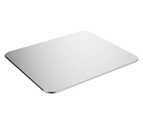 Durable Aluminum Mouse Pad, iWheat Non-Slip Mouse Pad with Rubber Base, Waterproof Gaming Mouse Pad for Mac Silver