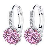 18K White/Rose Gold GP Pink Ruby AAA Zircon Clip Hoop Earring for Women Wedding