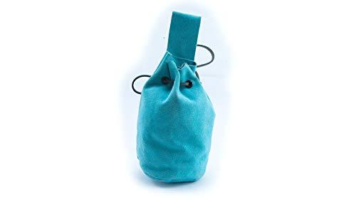 Mythrojan Pouch In Suede leather Drawstring Belt Pouch Bag Renaissance LARP - Light Blue