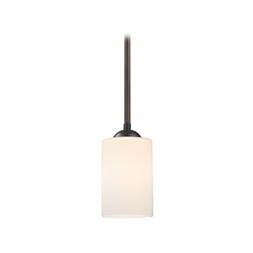 Mini-Pendant Light with Satin White Cylinder Glass Shade in Bronze