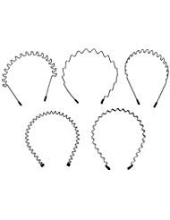 Buorsa 5 in 1 Five PCS Spring Wave Metal Hair Band Girl Men's Hoop Head Band Accessory ()