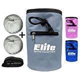 Elite Sportz Equipment Rock Climbing Chalk Bag and 2 x Chalk Balls - No Leak Drawstring Bag and Secure Zip Pocket, Grey