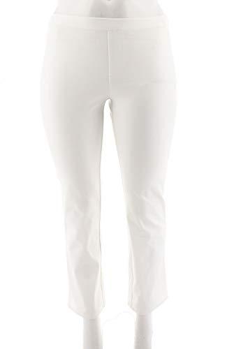 H Halston Petite Studio Stretch Straight Leg Pull-On Pants White 8P New A286223