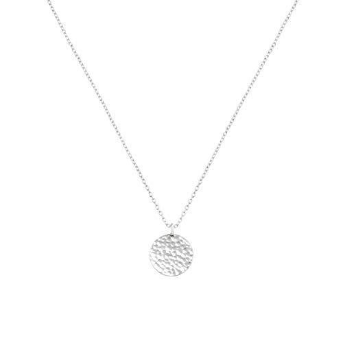 LOYATA Full Moon Pendant Necklace, Silver Plated Full Moon Necklace Hammered Round Disc Coin Pendant Necklace for Women (Full Moon Silver)