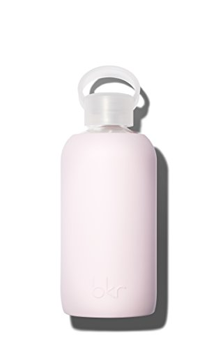 bkr Air Kiss Glass Water Bottle with Smooth Silicone Sleeve for Travel, Narrow Mouth, BPA-Free & Dishwasher Safe, Opaque Socialite Sweetheart Pink, 16 Ounce ()