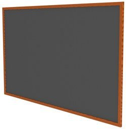 Recycled Bulletin Board Surface Color: Black, Frame Finish: Cherry Oak, Size: 3'1