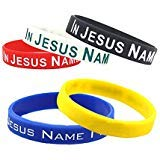 SpringPear 5X Silicone Sport Fitness Wristbands with Words in Jesus Name I Play for Unisex Adults Teenagers 5 -