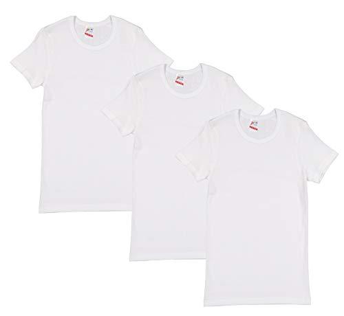 Brix Boys Cotton White T Shirt - Undershirt Crew Tee - Super Soft - 3 Pack.