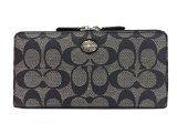 Coach Peyton Signature Black & White Accordion Zip Around Wallet - Style 49163