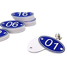ABS Engraved 30mm x 50mm Oval Table Numbers (1-50) Pubs Restaurants Clubs - Blue - 1 to ()