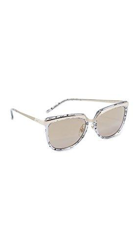 MCM Women's Metal Brow Sunglasses, Slate Visetos/Gold, One - Mcm Sunglasses