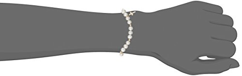 Girls' Freshwater Cultured Pearl and Cross Charm Beaded 14k Yellow Gold Strand Bracelet, 6""