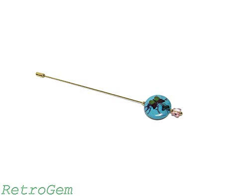 (RetroGem Reconstituted Turquoise Beaded Gold Tone Hat Pin With Swarovski Elements Crystal Butterfly (Pink Butterfly))