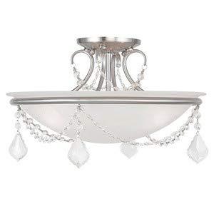 Livex Lighting 6524-91 Chesterfield/Pennington 3 Light Ceiling Mount, Brushed Nickel