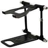CRANE Stand Elite  Universal DJ Stand for Laptops, Tablets and Controllers with Faux-leather Carry Bag, Black