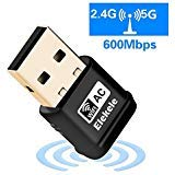 Elekele WiFi Adapter 600Mbps Wireless USB Network Adapter 802.11ac Dual Band 2.4G/5G with WPS Function for Desktop/Laptop/PC,Support Windows XP/Vista/7/8/8.1/10,Mac OS X 10.6-10.12 (mini 600Mbps)