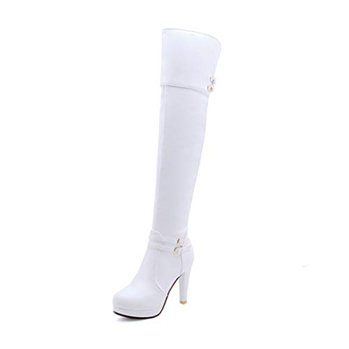 (T-JULY Spring Autumn Women Over The Knee Boots Platform Thigh High Heels Botas White)
