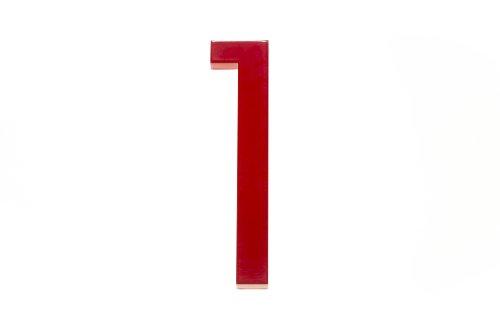Modern House Number Red Color Aluminum Modern Font (Number 1) by Moderndwellnumbers.com (Image #2)