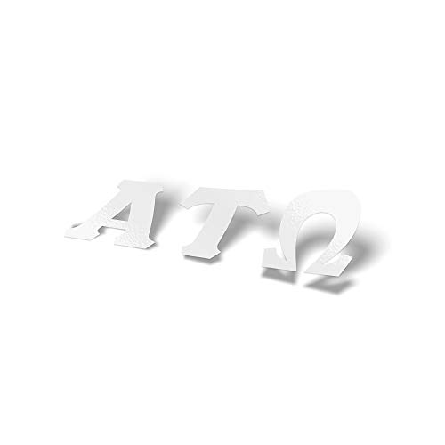 Alpha Tau Omega Fraternity White Letter Sticker Decal Greek 2 Inches Tall for Window Laptop Computer Car ATO