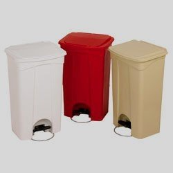 Continental Plastic Step On Trash Can Receptacle With Lid   18 Gallon, Beige