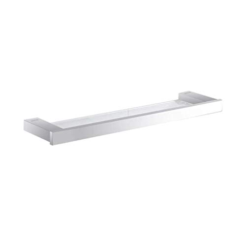 NYDZDM Glass Shelf, Bathroom Mirror Front Shelf, with 304 Stainless Steel Cosmetic Rack Wall Mount, for Bathroom/Balcony Kitchen Bathroom Shelf Glass,20''×4.7''