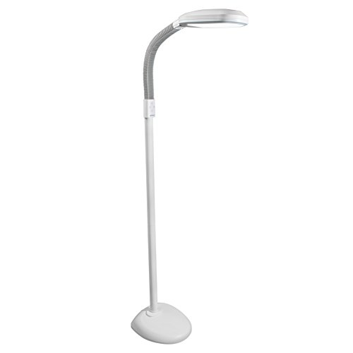 Verilux Original SmartLight LED Floor Lamp Full Spectrum Energy-Efficient Natural Light for Reading , Artists, Crafts Dimmable - Adjustable Gooseneck Task Light - Natural Spectrum Lamp