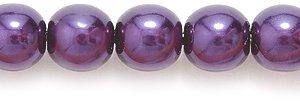 Preciosa Ornela Imitation Round Glass Pearl, 6mm, Luster Dark Amethyst on Crystal, 100-Pack Shipwreck Beads 6GP399-T