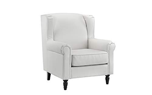 Classic Scroll Arm Faux Leather Accent Chair (White)