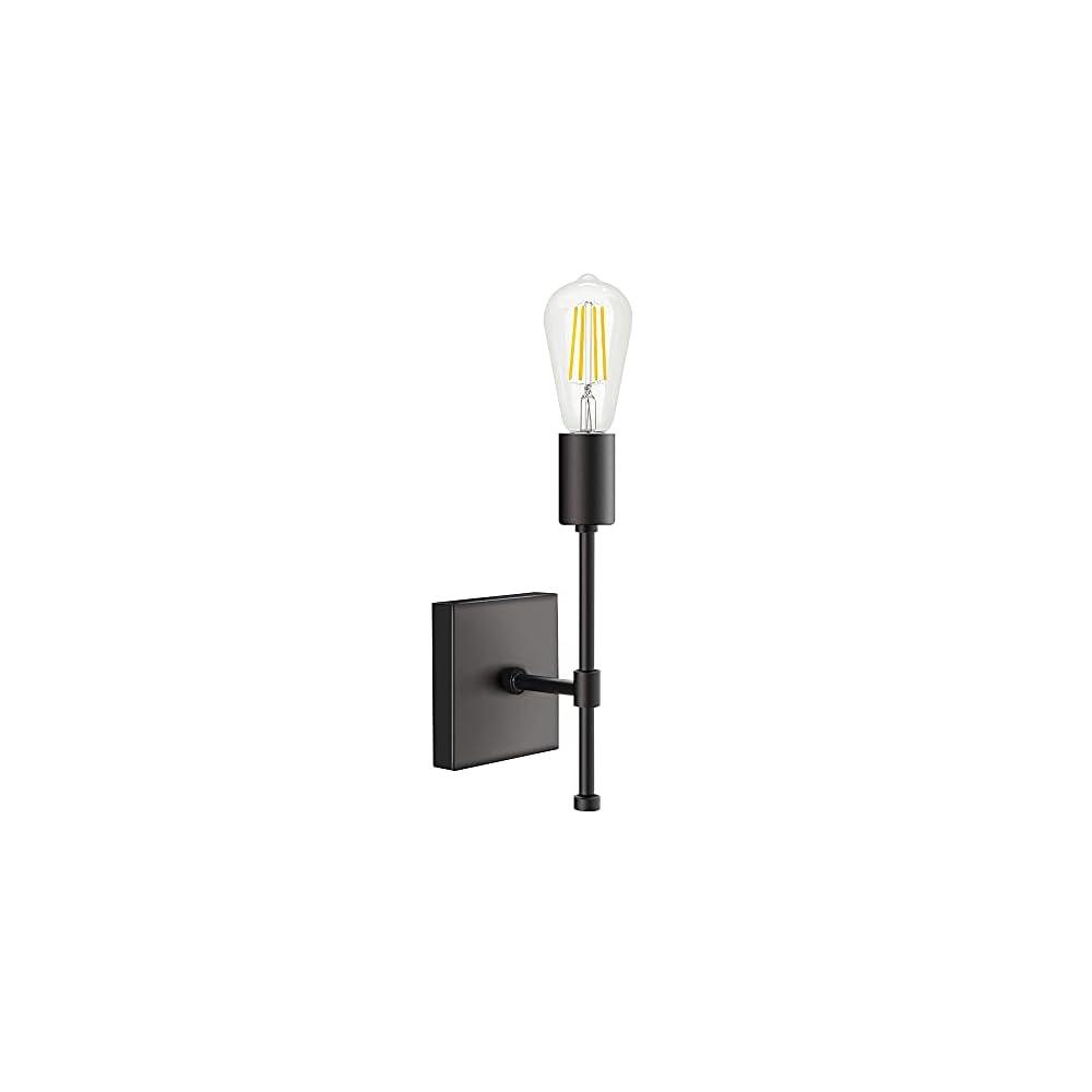 PUUPA Small Wall Light Fixture, Black Industrial Farmhouse Wall Lighting Single Indoor Wall Sconce Bathroom Vanity Light