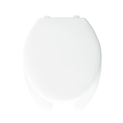 Bemis 1950SS000 Plastic Open Front with Cover Elongated Toilet Seat with Self Sustaining Hinge, White by Bemis