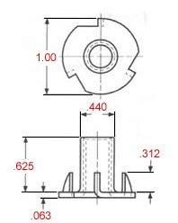 T-NUT 3/8-16 X 5/8'' Length, 4 Prong, Steel, Press-in Threaded Insert for Wood OR Plastic. (Pack of 100)