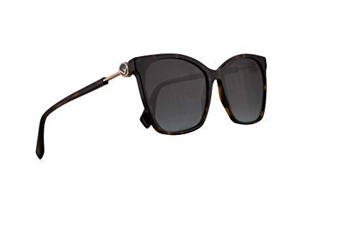 Fendi FF0344/S Sunglasses Dark Havana w/Grey Lens 57mm 0861I FF0344S FF 0344/S