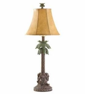SKB Family Palm Lamp Tree Tropical Table Skin Pattern Lampshade Alabastrite with Monkeys at Base