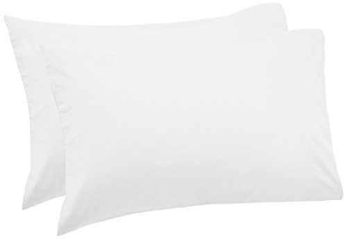 - Pinzon 500-Thread-Count Pima Cotton Sateen Pillowcases -  Standard, White (Set of 2)