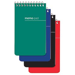 Office Depot(R) Brand Wirebound Top-Opening Memo Books, 3in. x 5in, 1 Hole-Punched, College Ruled, 60 Sheets, Assorted Colors (No Color Choice), Pack Of 12 ()