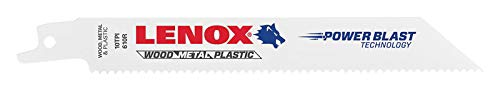 LENOX Tools General Purpose Reciprocating Saw Blade with Power Blast Technology, Bi-Metal, 6-inch, 10 TPI, 50/PK (Purpose Reciprocating Blade General Wood)