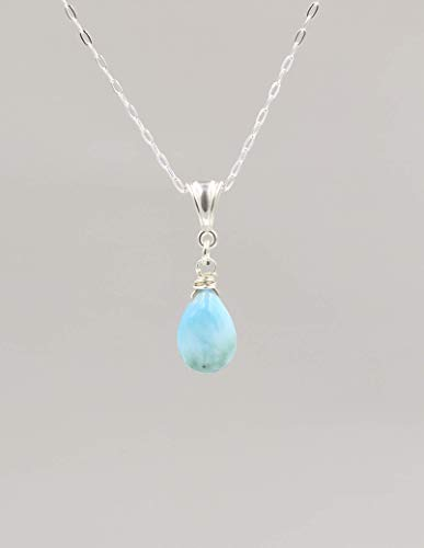 (Blue Larimar Gemstone Pendant Necklace with Sterling Silver Chain - 18